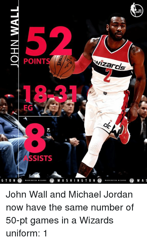 sist: POINT  EG  SISTS  wizards  NG TO N John Wall and Michael Jordan now have the same number of 50-pt games in a Wizards uniform: 1️