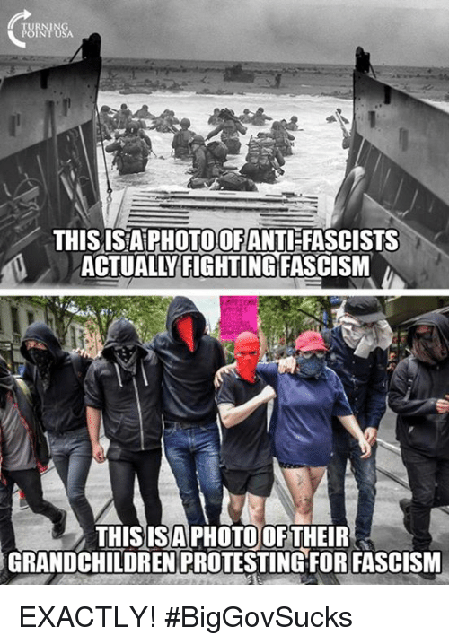 Memes, Fascism, and 🤖: POINT USA  THIS ISAPHOTOCOFANTIFASCISTS  ACTUALL FIGHTING  FASCISM  A  THIS IS PHOTO OF THEIR  GRANDCHILDREN PROTESTING FOR FASCISM EXACTLY! #BigGovSucks