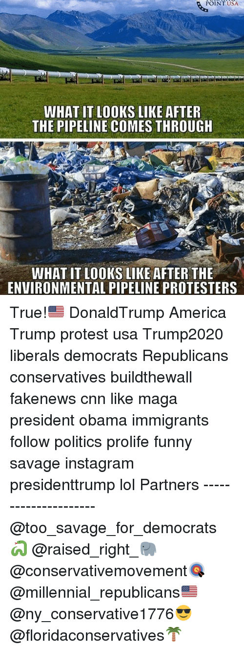 Trump Protesters: POINT USA  WHAT IT LOOKS LIKE AFTER  THE PIPELINE COMES THROUGH  WHAT IT LOOKS LIKE AFTER THE  ENVIRONMENTAL PIPELINE PROTESTERS True!🇺🇸 DonaldTrump America Trump protest usa Trump2020 liberals democrats Republicans conservatives buildthewall fakenews cnn like maga president obama immigrants follow politics prolife funny savage instagram presidenttrump lol Partners --------------------- @too_savage_for_democrats🐍 @raised_right_🐘 @conservativemovement🎯 @millennial_republicans🇺🇸 @ny_conservative1776😎 @floridaconservatives🌴