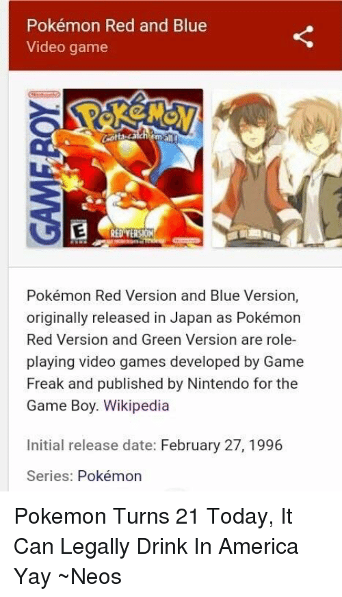 Pokemon red and blue release date in Australia