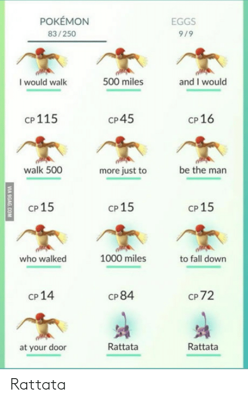 rattata: POKEMON  83/250  EGGS  9/9  I would walk  500 miles  and I would  cP115  CP45  CP 16  walk 500  more just to  be the man  CP15  CP 15  CP 15  who walked  1000 miles  to fall down  CP 14  CP 84  CP 72  at your door  Rattata  Rattata Rattata