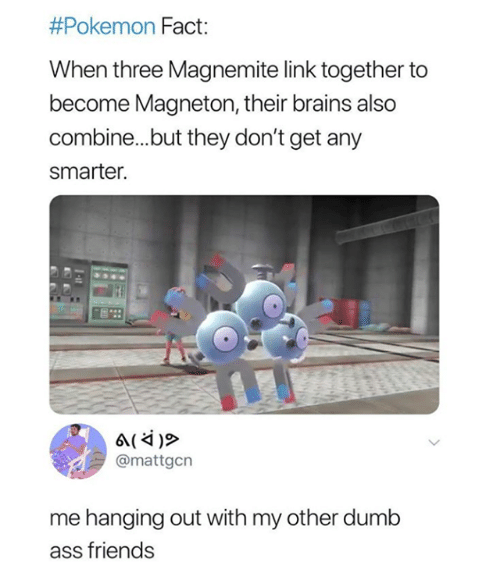 Dumb Ass:  #Pokemon Fact:  When three Magnemite link together to  become Magneton, their brains also  combine...but they don't get any  smarter.  @mattgcn  me hanging out with my other dumb  ass friends