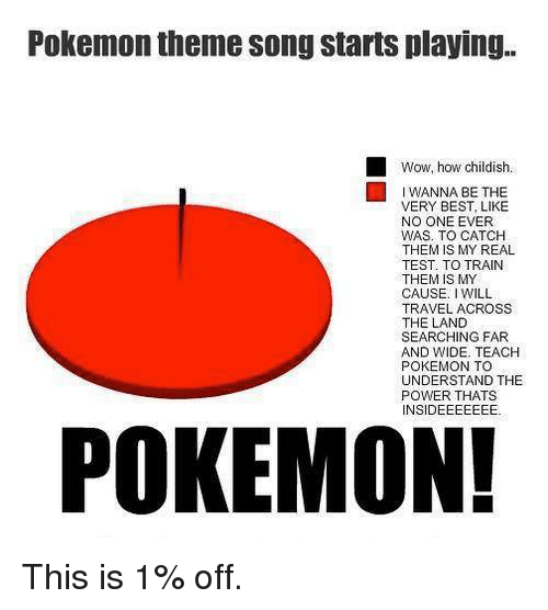 Pokemon, Wow, and Best: Pokemon theme song starts playing.  Wow, how childish.  A BE THE  VERY BEST LIKE  NO ONE EVER  WAS TO CATCH  THEM IS MY REAL  TEST. TO TRAIN  THEM IS MY  CAUSE  WILL  TRAVEL ACROSS  THE LAND  SEARCHING FAR  AND WIDE. TEACH  POKEMON TO  UNDERSTAND THE  POWER THATS  INSIDEEEEEEE  POKEMON! This is 1% off.