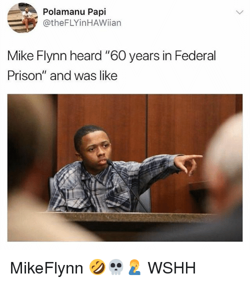 "Memes, Wshh, and Prison: Polamanu Papi  @theFLYinHAWiian  Mike Flynn heard ""60 years in Federal  Prison"" and was like MikeFlynn 🤣💀🤦‍♂️ WSHH"