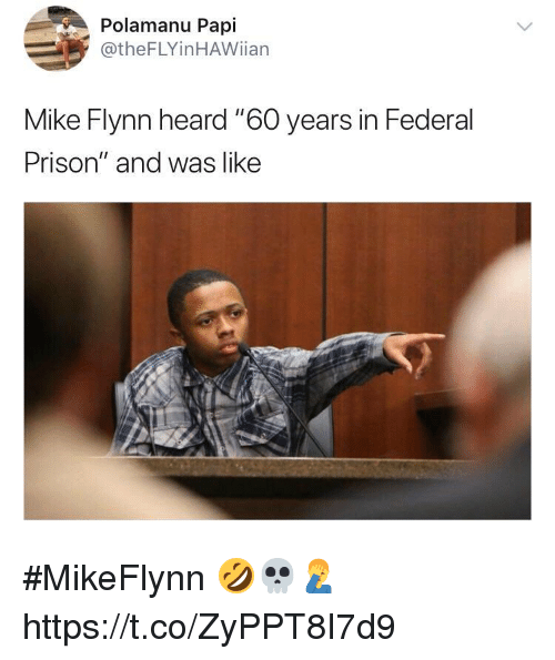 "Memes, Prison, and 🤖: Polamanu Papi  @theFLYinHAWiian  Mike Flynn heard ""6O years in Federal  Prison"" and was like #MikeFlynn 🤣💀🤦‍♂️ https://t.co/ZyPPT8I7d9"