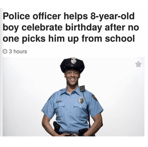 Police Officer Helps 8-Year-Old Boy Celebrate Birthday ...