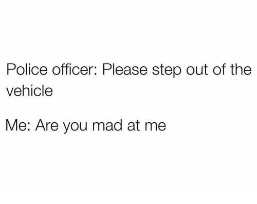 are you mad at me: Police officer: Please step out of the  vehicle  Me: Are you mad at me