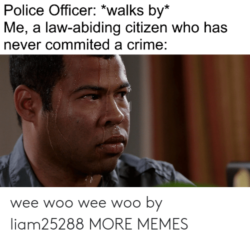 Wee Woo: Police Officer: *walks by*  Me, a law-abiding citizen who has  never commited a crime: wee woo wee woo by liam25288 MORE MEMES