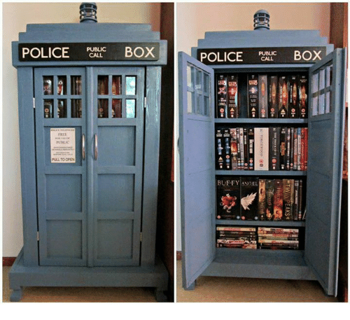 police box: POLICE  PUBLIC  BOX  FREE  PULL TO OPEN  POLICE  BOX  BUFFY ANGEL