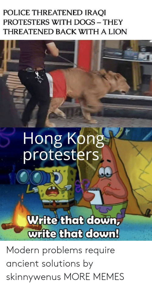 Modern Problems Require: POLICE THREATENED IRAQI  PROTESTERS WITH DOGS THEY  THREATENED BACK WITH A LION  Hong Kong  protesters  Write that down,  write that down! Modern problems require ancient solutions by skinnywenus MORE MEMES