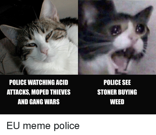 Meme, Police, and Reddit: POLICE WATCHING ACID  ATTACKS, MOPED THIEVES  AND GANG WARS  POLICE SEE  STONER BUYING  WEED