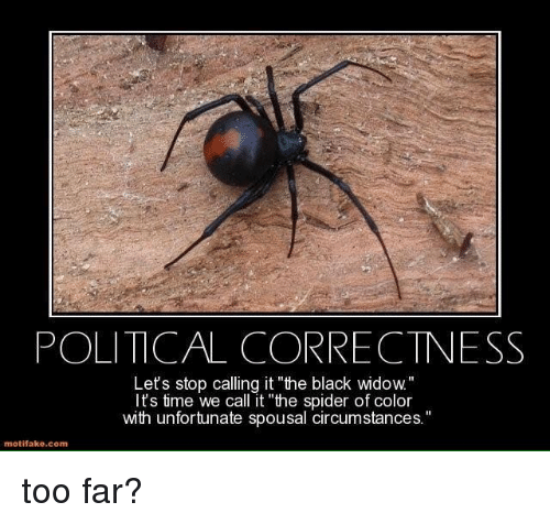 "Memes, Spider, and Black: POLITICAL CORRECTNESS  Let's stop calling it ""the black wido  It's time we call it ""the spider of color  with unfortunate spousal circumstances.  motifake comm too far?"