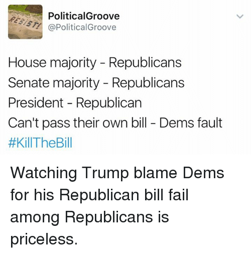 Memes, 🤖, and Republican: Political Groove  @Political Groove  House majority Republicans  Senate majority Republicans  President Republican  Can't pass their own bill Dems fault  #Kil The Bill Watching Trump blame Dems for his Republican bill fail among Republicans is priceless.