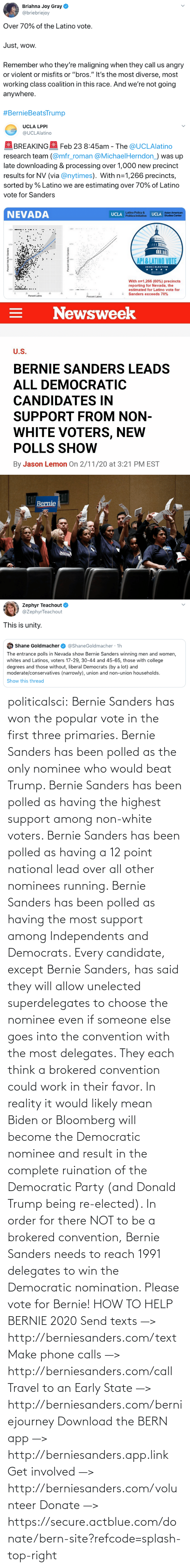 site: politicalsci: Bernie Sanders has won the popular vote in the first three primaries. Bernie Sanders has  been polled as the only nominee who would beat Trump. Bernie Sanders  has been polled as having the highest support among non-white voters.  Bernie Sanders has been polled as having a 12 point national lead over  all other nominees running. Bernie Sanders has been polled as having the most support among Independents and Democrats.  Every candidate, except Bernie Sanders, has said they will allow  unelected superdelegates to choose the nominee even if someone else goes  into the convention with the most delegates. They each think a brokered  convention could work in their favor. In  reality it would likely mean Biden or Bloomberg will become the  Democratic nominee and result in the complete ruination of the  Democratic Party (and Donald Trump being re-elected). In order for there  NOT to be a brokered  convention, Bernie Sanders needs to reach 1991 delegates to win the  Democratic  nomination. Please vote for Bernie!  HOW TO HELP BERNIE 2020 Send texts —> http://berniesanders.com/text  Make phone calls —> http://berniesanders.com/call  Travel to an Early State —> http://berniesanders.com/berniejourney  Download the BERN app —> http://berniesanders.app.link  Get involved —> http://berniesanders.com/volunteer Donate —> https://secure.actblue.com/donate/bern-site?refcode=splash-top-right
