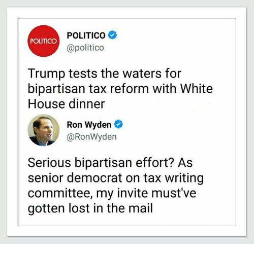 Trump Taxes Politico: POLITICO POLITICO Trump Tests The Waters For Bipartisan