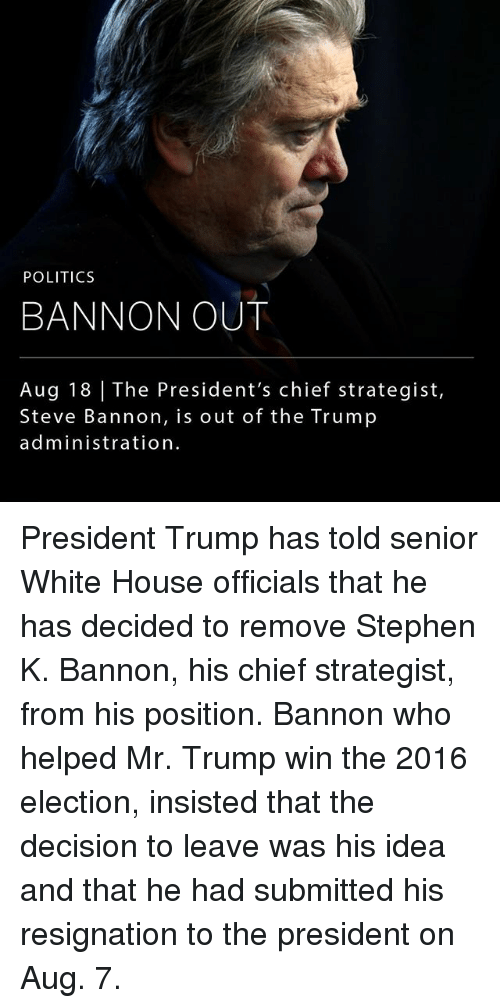 Trump Winning: POLITICS  BANNON OUT  Aug 18 | The President's chief strategist,  Steve Bannon, is out of the Trump  administration President Trump has told senior White House officials that he has decided to remove Stephen K. Bannon, his chief strategist, from his position. Bannon who helped Mr. Trump win the 2016 election, insisted that the decision to leave was his idea and that he had submitted his resignation to the president on Aug. 7.