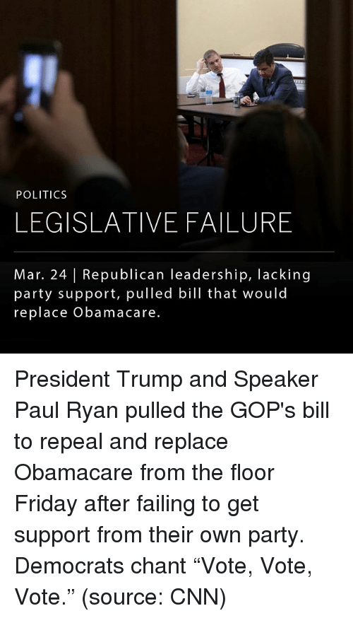 """fridays: POLITICS  LEGISLATIVE FAILURE  Mar. 24 Republican leadership, lacking  party support, pulled bill that would  replace Obama care. President Trump and Speaker Paul Ryan pulled the GOP's bill to repeal and replace Obamacare from the floor Friday after failing to get support from their own party. Democrats chant """"Vote, Vote, Vote."""" (source: CNN)"""