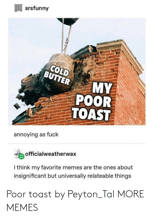 Toast: Poor toast by Peyton_Tal MORE MEMES