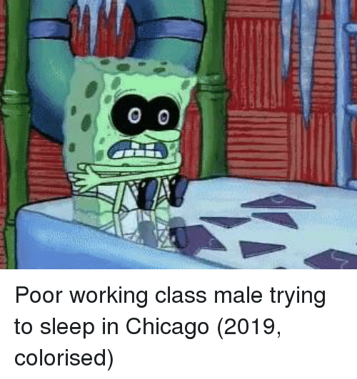 Colorised: Poor working class male trying to sleep in Chicago (2019, colorised)