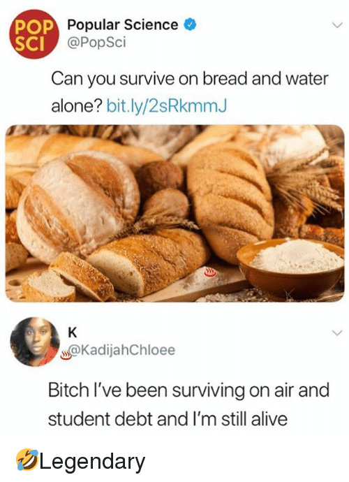 Alive, Being Alone, and Bitch: POP  SCI  Popular Science  @PopSci  Can you survive on bread and water  alone? bit.ly/2sRkmmJ  @KadijahChloee  Bitch I've been surviving on air and  student debt and I'm still alive 🤣Legendary