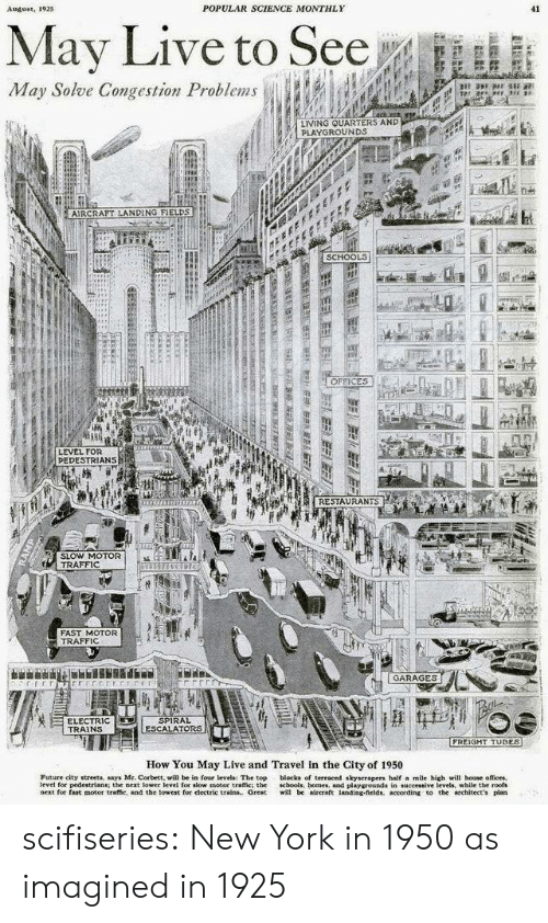 spiral: POPULAR SCIENCE MONTHLY  41  August, 1925  May Live to See  May Solve Congestion Problems  LIVING QUARTERS AND  PLAYGROUNDS  AIRCRAPT LANDING FIELDS  SCHOOLS  OFFICES  LEVEL FOR  PEDESTRIANS  RESTAURANTS  SLOW MOTOR  TRAFFIC  FAST MOTOR  TRAFFIC  GARAGES  SPIRAL  ESCALATORS  ELECTRIC  TRAINS  FREIGHT TUBES  How You May Live and Travel in the City of 1950  Future city streets, says Mr. Corbett, will be in four levels: The top  level for pedestrians; the next lower level for slow motor traffic: the  next for fast motor traffie, and the lowest for electric trains. Great  blocks of terraced skyscrapers half a mile high will hoase offices  chools, homes, and playgrounds in successive levels, while the roofs  will be aireraft landing-fields, according to the architect's plan  L  ERLEELELEBL EEE  RAMP scifiseries:  New York in 1950 as imagined in 1925