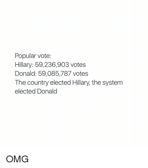 Vote Hillary: Popular vote:  Hillary: 59,236,903 votes  Donald: 59,085,787 votes  The country elected Hillary, the system  elected Donald OMG