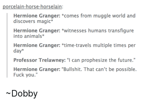 """Fuck You, Hermione, and Horses: porcelain-horse-horselain:  Hermione Granger: comes from muggle world and  discovers magic  Hermione Granger: witnesses humans transfigure  into animals  Hermione Granger: time-travels multiple times per  day  Professor Trelawney: """"I can prophesize the future.""""  Hermione Granger: """"Bullshit. That can't be possible.  Fuck you."""" ~Dobby"""