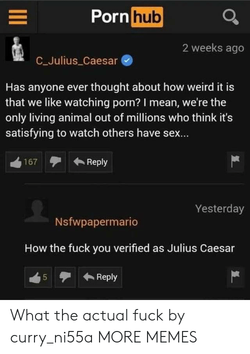 satisfying: Porn hub  2 weeks ago  C_Julius Caesar  Has anyone ever thought about how weird it is  that we like watching porn? I mean, we're the  only living animal out of millions who think it's  satisfying to watch others have sex...  Reply  167  Yesterday  Nsfwpapermario  How the fuck you verified as Julius Caesar  Reply  5  LO What the actual fuck by curry_ni55a MORE MEMES