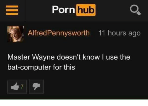 Porn Hub, Computer, and Porn: Porn hub  AlfredPennysworth 11 hours ago  Master Wayne doesn't know I use the  bat-computer for this  7