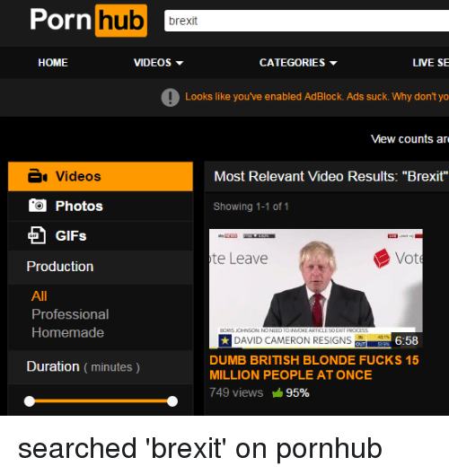 "David Cameron, Dumb, and Fucking: Porn  hub  brexit  HOME  LIVE SE  VIDEOS  CATEGORIES  Looks like you've enabled AdBlock. Ads suck. Why don't yo  View counts are  Most Relevant video Results: ""Brexit""  Videos  Photos  Showing 1-1 of 1  GIFs  Vot  te Leave  Production  Professional  Homemade  DAVID CAMERON RESIGNS  6:58  DUMB BRITISH BLONDE FUCKS 15  Duration (minutes)  MILLION PEOPLE AT ONCE  749 views 95% searched 'brexit' on pornhub"