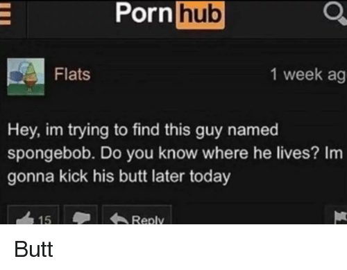 Butt, Porn Hub, and SpongeBob: Porn  hub  Flats  1 week ag  Hey, im trying to find this guy named  spongebob. Do you know where he lives? Im  gonna kick his butt later today  Reply