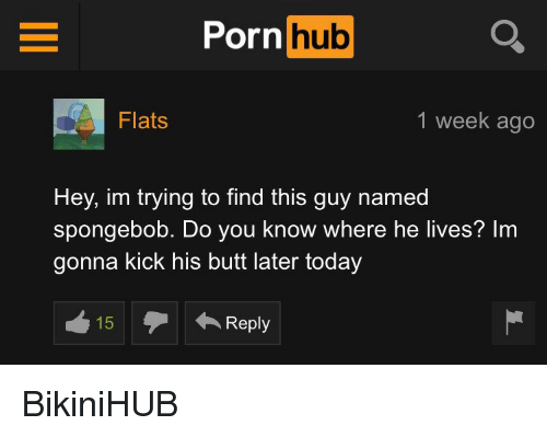 Porn Hub, SpongeBob, and Kick: Porn  hub  Flats  1 week ago  Hey, im trying to find this guy named  spongebob. Do you know where he lives? Im  gonna kick his butt later today  Reply BikiniHUB