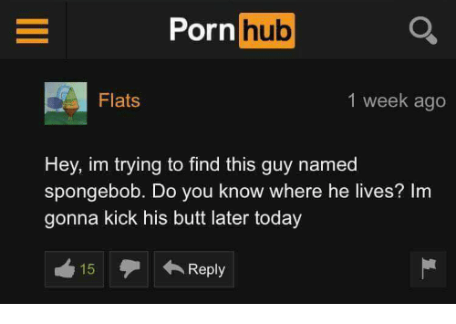 Butt, Porn Hub, and SpongeBob: Porn  hub  Flats  1 week ago  Hey, im trying to find this guy named  Spongebob. Do you know where he lives? Im  gonna kick his butt later today  Reply