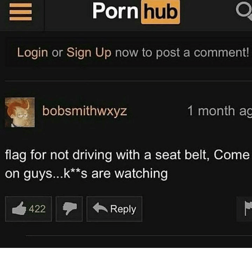 Driving, Memes, and Porn Hub: Porn  hub  Login or Sign Up now to post a comment!  bobsmithwxyz  1 month ag  flag for not driving with a seat belt, Come  on guys...k*s are watching  422  Reply  Reply