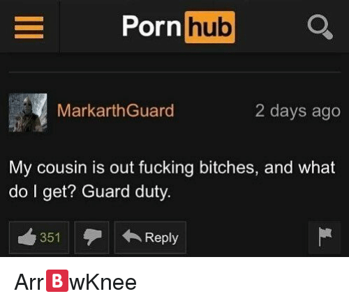 Fucking, Porn Hub, and Reddit: Porn hub  MarkarthGuard  2 days ago  My cousin is out fucking bitches, and what  do l get? Guard duty  曲351  ← Reply