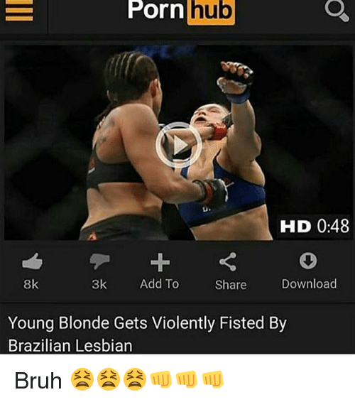 Dank, Lesbians, and Porn Hub: porn hub  Porn hub  HID 0:48  8k  3k  Add To  Download  Share  Young Blonde Gets Violently Fisted By  Brazilian Lesbian Bruh 😫😫😫👊👊👊