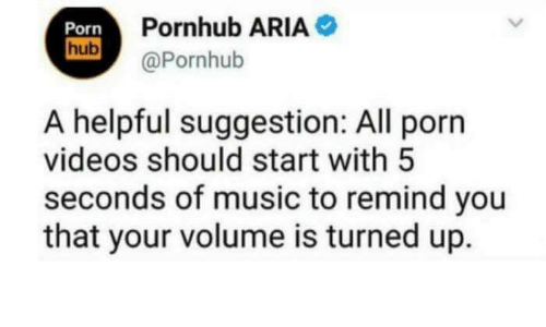 Music, Porn Hub, and Pornhub: Porn  hub  Pornhub ARIA  (Pornhub  A helpful suggestion: All porn  videos should start with5  seconds of music to remind you  that your volume is turned up.