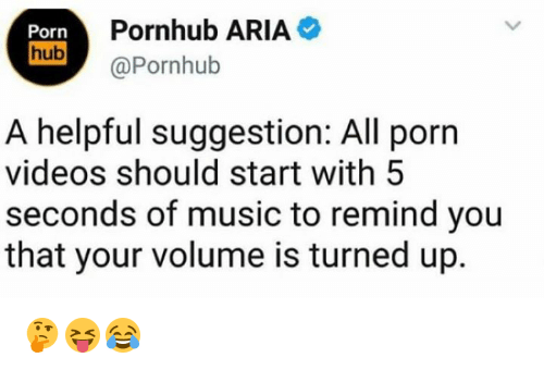 Music, Porn Hub, and Pornhub: Porn  hub  Pornhub ARIA  UD aPornhub  A helpful suggestion: All porn  videos should start with 5  seconds of music to remind you  that your volume is turned up. 🤔😝😂