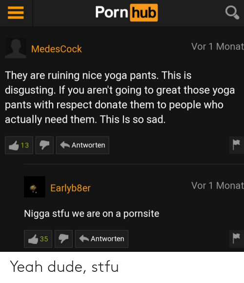 Dude, Porn Hub, and Respect: Porn hub  Vor 1 Monat  MedesCock  They are ruining nice yoga pants. This is  disgusting. If you aren't going to great those yoga  pants with respect donate them to people who  actually need them. This Is so sad.  Antworten  13  Vor 1 Monat  Earlyb8er  Nigga stfu we are on a pornsite  35  Antworten  II Yeah dude, stfu