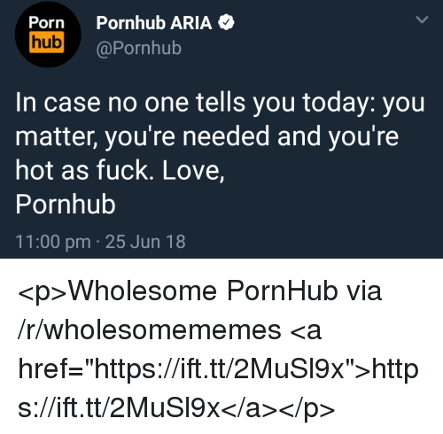 "Love, Pornhub, and Fuck: Porn Pornhub ARIA  ub@Pornhub  In case no one tells you today: you  matter, you're needed and you're  hot as fuck. Love,  Pornhub  11:00 pm 25 Jun 18 <p>Wholesome PornHub via /r/wholesomememes <a href=""https://ift.tt/2MuSl9x"">https://ift.tt/2MuSl9x</a></p>"