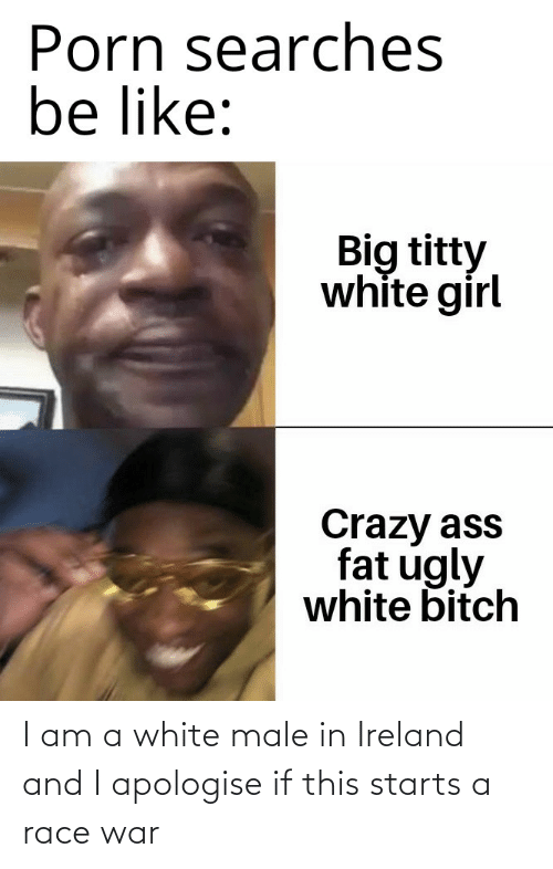 Race War: Porn searches  be like:  Big titty  white girl  Crazy ass  fat ugly  white bitch I am a white male in Ireland and I apologise if this starts a race war