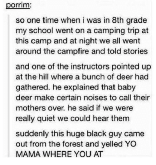 Black Guy: porrim  so one time when i was in 8th grade  my school went on a camping trip at  this camp and at night we all went  around the campfire and told stories  and one of the instructors pointed up  at the hill where a bunch of deer had  gathered. he explained that baby  deer make certain noises to call their  mothers over. he said if we were  really quiet we could hear them  suddenly this huge black guy came  out from the forest and yelled YO  MAMA WHERE YOU AT