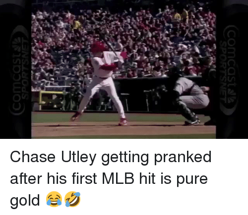 Mlb, Chase, and Chase Utley: PORTS Chase Utley getting pranked after his first MLB hit is pure gold 😂🤣