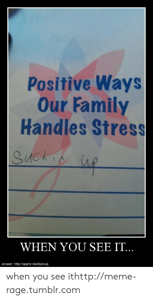 When you see it: Positive Ways  Our Family  Handles Stress  WHEN YOU SEE IT.  answer: http:/Wspartz.me/dia vuq when you see ithttp://meme-rage.tumblr.com