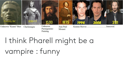 """Funny Vampire Memes: Possibly BC  800 CE 1530 187594 200820  Unknown  Parmigianino Mounet  Painting  Unknown """"Keanu"""" Bust  Jean Paul  Charlemagne I think Pharell might be a vampire : funny"""