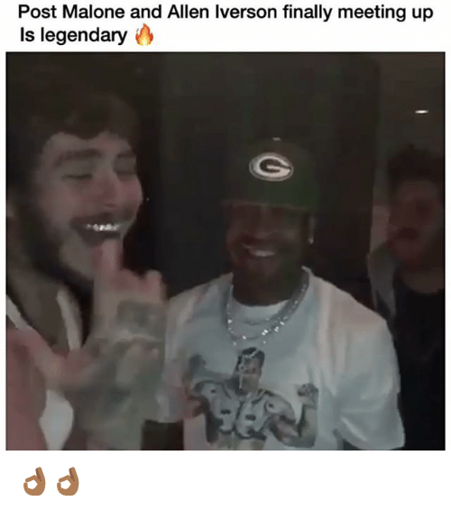 Allen Iverson, Funny, and Post Malone: Post Malone and Allen Iverson finally meeting up  Is legendary 👌🏾👌🏾