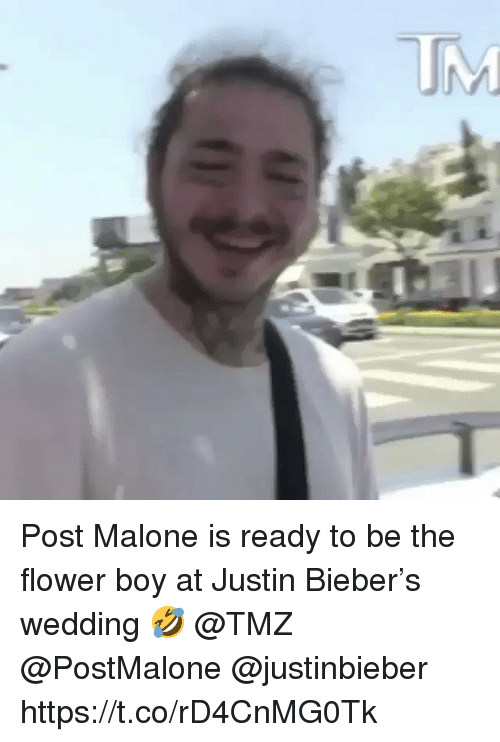 Justinbieber: Post Malone is ready to be the flower boy at Justin Bieber's wedding 🤣 @TMZ @PostMalone @justinbieber https://t.co/rD4CnMG0Tk