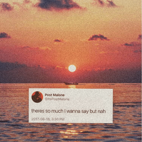 Post Malone: Post Malone  @itsPostMalone  theres somuch I wanna say but nah  2017-08-18, 3:30 PM