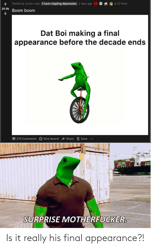 i have crippling depression: Posted by u/cam-nash I have crippling depression 2 days ago H O  2 & 20 More  39.9k  Boom boom  Dat Boi making a final  appearance before the decade ends  I 273 Comments O Give Award a Share E Save  ...  SURPRISE MOTHERFUCKER. Is it really his final appearance?!