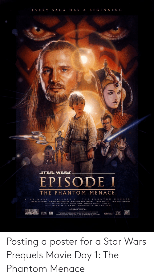 the phantom menace: Posting a poster for a Star Wars Prequels Movie Day 1: The Phantom Menace